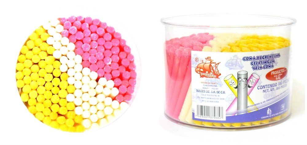Amazon.com : Vela Goma Large container with 180 Gelatin Gummy in Straws Classic Mexican Candy : Grocery & Gourmet Food