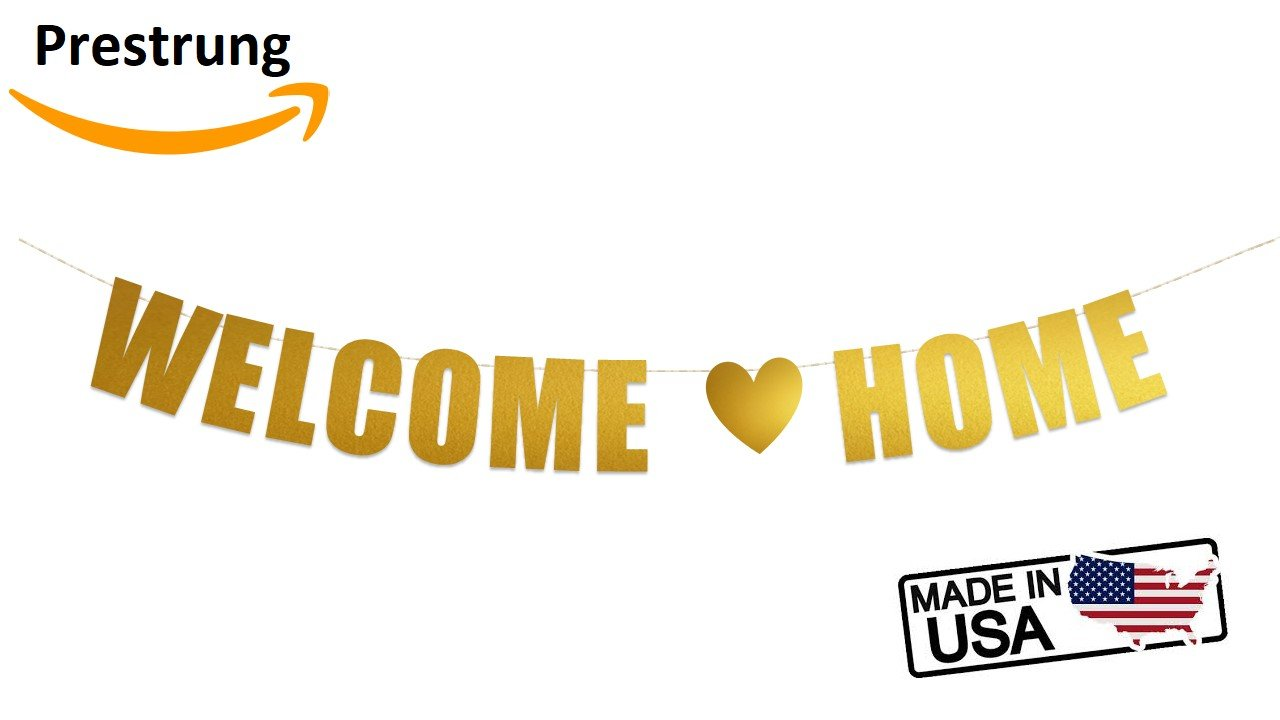 Welcome Home Banner for Home Decoration and Family Party Supplies Baby, Military (Gold Metallic)