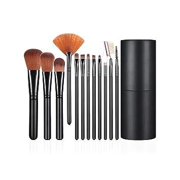 Juego de 12 brochas de maquillaje profesional y portátil para cosméticos, kit de herramientas de maquillaje con portavasos y estuche de regalo para ...