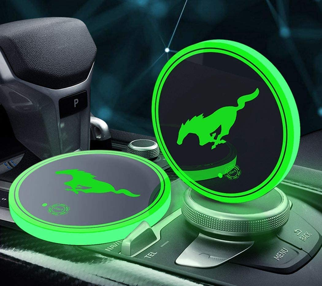 OSIRCAT LED Car Cup Holder Lights for Mustang Accessories,Car Logo Coaster with 7 Colors Changing USB Charging Mat,Luminescent Cup Pad Interior Atmosphere Lamp Decoration Light 2PCS