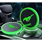 OSIRCAT LED Car Cup Holder Lights for Mustang Accessories,Car Logo Coaster with 7 Colors Changing USB Charging Mat…
