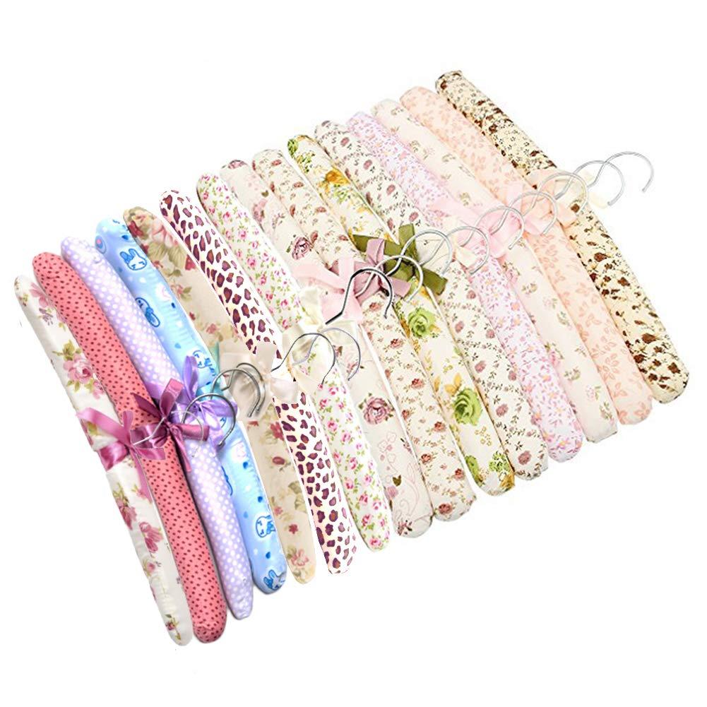 SwirlColor 10 piezas de Entrega Floral algodón acolchado Perchas paño suave Hanger-aleatoria