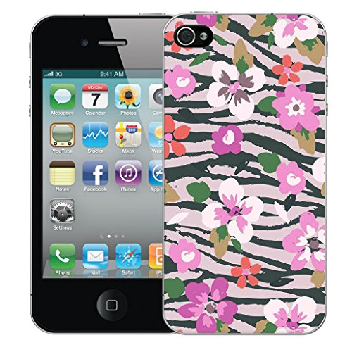 Mobile Case Mate iPhone 5s Silicone Coque couverture case cover Pare-chocs + STYLET - Pink Botanic pattern (SILICON)