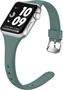 Laffav Band Compatible with Apple Watch 40mm 38mm for Women Men Durable Soft Silicone Sport Slim Replacement Strap Compatible with Apple Watch SE & Series 6 & Series 5 4 3 2 1, Pine Green, S/M