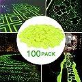 Cozzine 100 Pcs Glow in The Dark Garden Pebbles, Garden Decor Glowing Stones Luminous Rocks for Outdoor Walkway Driveway, Fish Tank Aquatium Glow Decorations