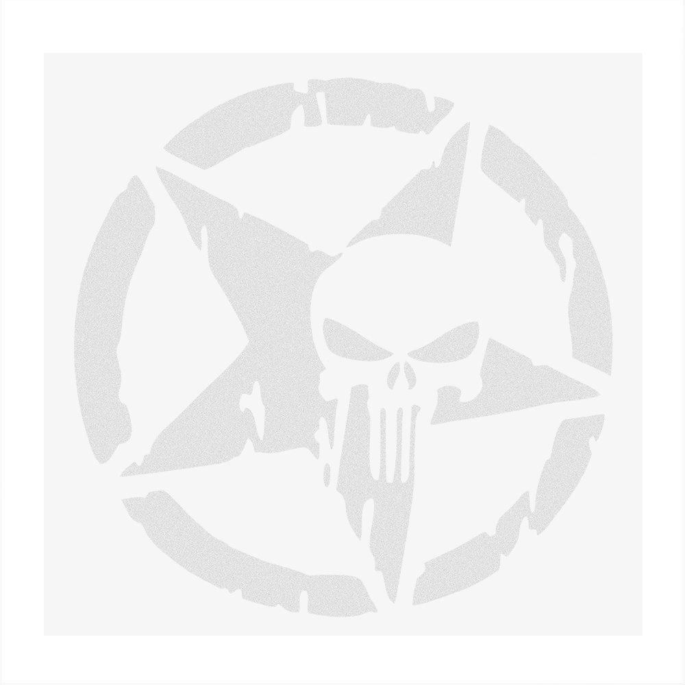 Odster - 13 * 13CM Autocollants Voiture et Autocollants Crâne tête Auto Moto Autocollant étoile à Cinq Branches du Corps Car Styling Décor [Blanc ]