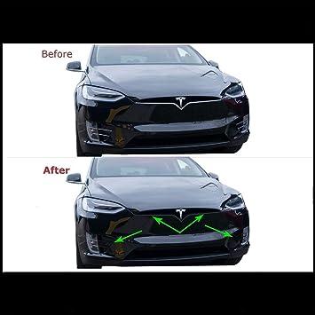 Amazon Com Chrome Delete Vinyl Kit Blackout Trim Overlay For 2016 2020 Tesla Model X Front Bumper Trim Matte Black Automotive