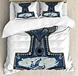 Lunarable Viking Duvet Cover Set King Size, Scandinavian Folklore Motifs Northern Germanic Culture Mjollnir, Decorative 3 Piece Bedding Set with 2 Pillow Shams, Blue Grey Navy Blue Slate Blue