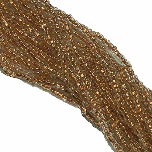 Clear Copper Lined Czech 6/0 Seed Bead on Loose Strung 6 String Hank Approx 900 Beads