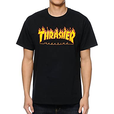 161cd5f91c18 Thrasher Flame black T-Shirt  Amazon.co.uk  Clothing