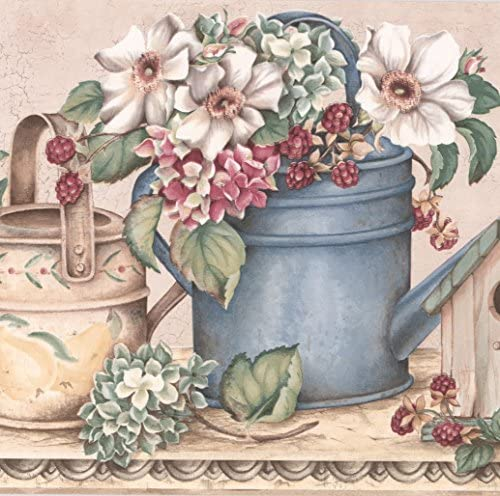 """ホワイトピンクの花ベリーバードハウスワイド壁紙ボーダーレトロデザインロール15 'x 10.25 """""""