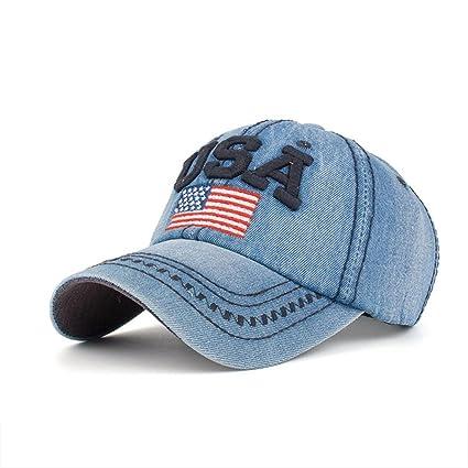 5d817354a TOOPOOT Men's Unisex Flag Caps Adjustable Cross Casual USA Denim Snapback  Caps Hip Hop Hats Bill Baseball Hawaii Cap One Size Navy