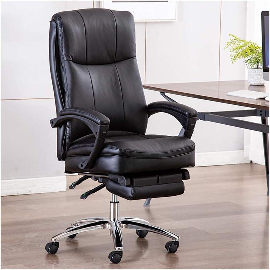 Silla de Oficina Escritorio Silla de Oficina ergonómica Silla Ergonómica,Sillón reclinable de Cuero reclinable de Cuero Negro