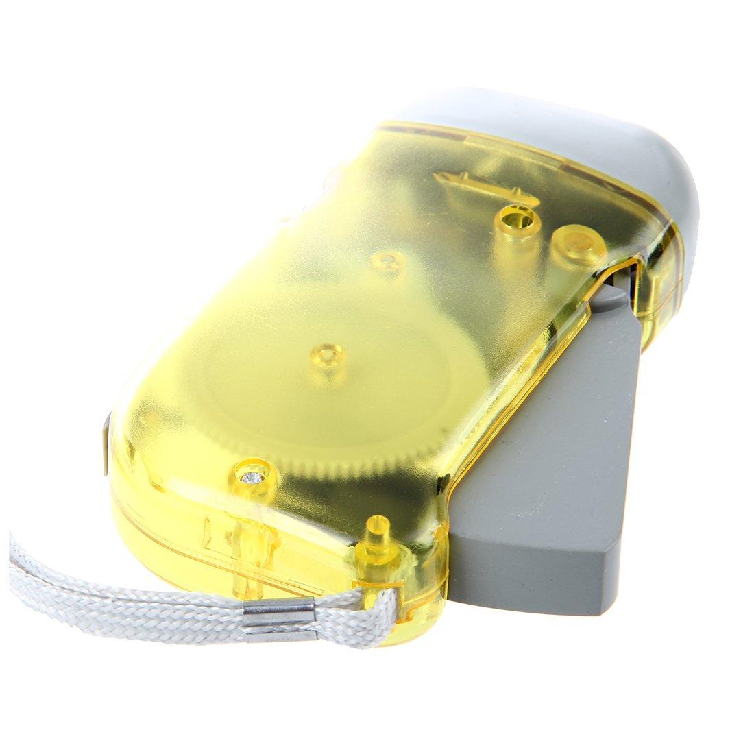 Sodial per campeggio ed esterni senza batterie e a carica manuale colore: Giallo - Lampada 3 LED a pressione R