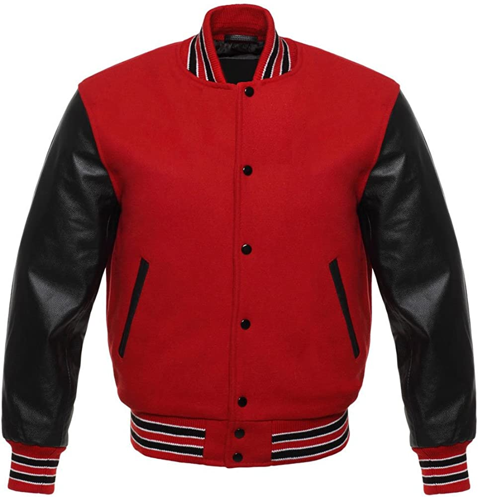Black//Red//Grey//Blue Varsity Letterman  Wool Bomber Jackets  Real Leather Sleeves