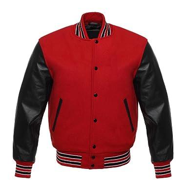Letterman Varsity Jacket Black Leather Sleeves Three Colors Stips 11