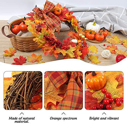 HAKACC 15 inch DIY Fall Wreath Autumn Wreath Supplies with Grapevine Wreath, Pumpkin,Maple Leaves and Artificial Berries for Autumn Halloween Thanksgiving Day