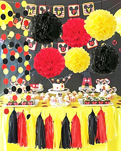 Mickey Mouse Party Supplies Yellow Black Red Tissue Paper Pom Pom Tassel Garland Mickey Garland Mickey Mouse Theme Birthday Party (Mickey Mouse Birthday Supplies)