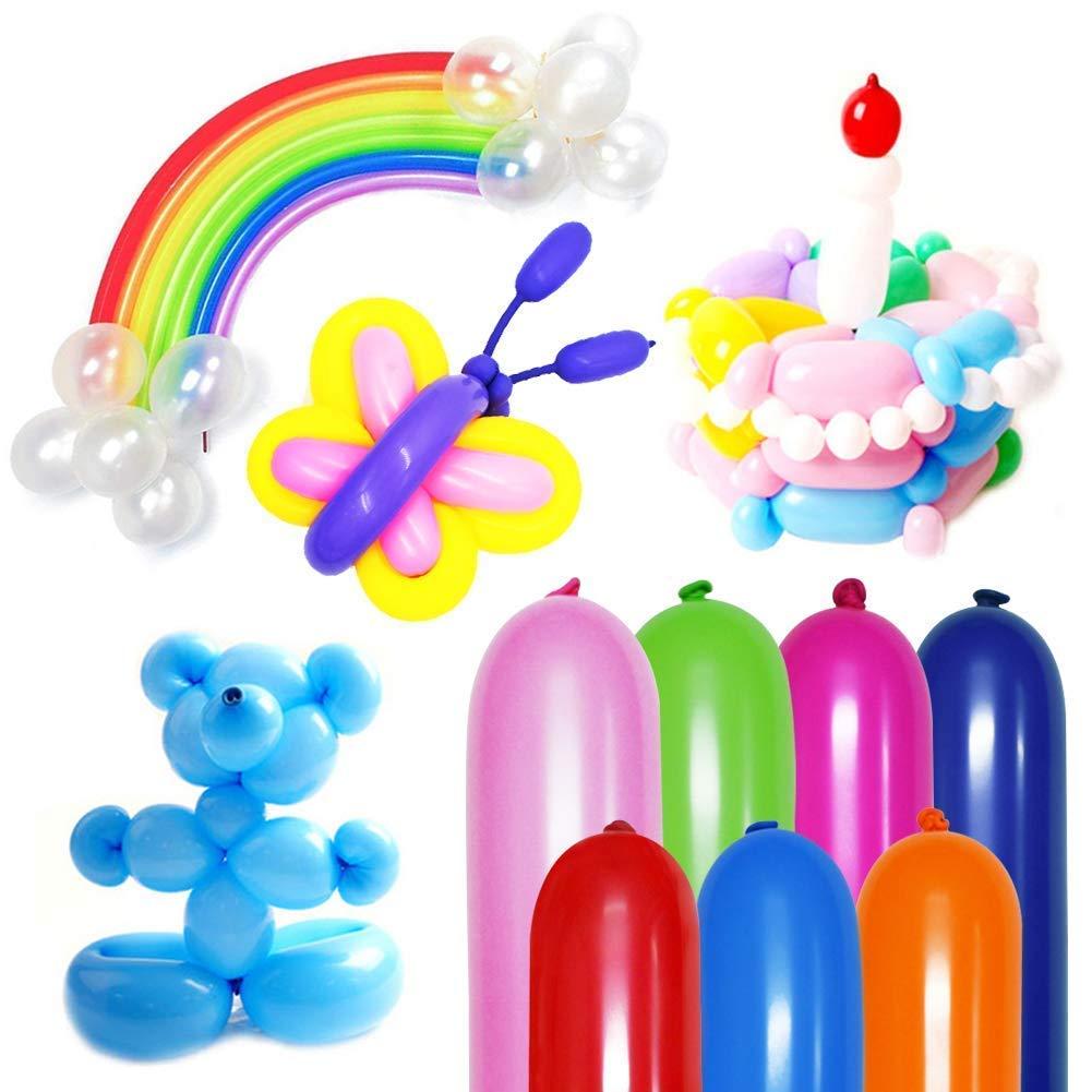 HAKACC 200 Stück Modellierballons mit professioneller Luftpumpe, Bunte Magic Luftballons für Hochzeit Geburtstage Party zur Deko