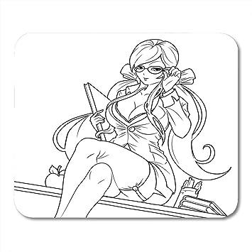 Almohadillas para ratón Personaje Libros Negros Chica Anime ...
