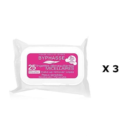 Juego de 3 – 25 toallitas démaquillantes solución micelar – pieles sensibles