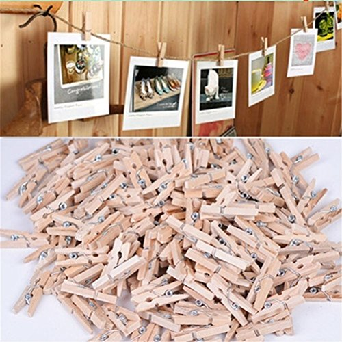 Mini Wood Clips - 50 Pieces/Lot Natural Mini Spring Wood Clips Clothes Photo Paper Peg Pin Clothespin Craft Clips Party Home Decoration from Unknown