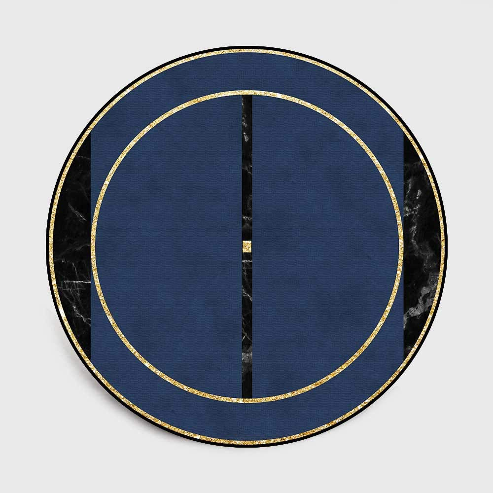 ZCXBB Fashion Modern Dark Blue Imitation Black Marble Round Living Room Bedroom Stool Non-Slip Children's Floor Mat Carpet (Color : Blue, Size : XL)