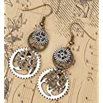 SKYPIA Antique-Bronze-Tone Gear Earrings 8