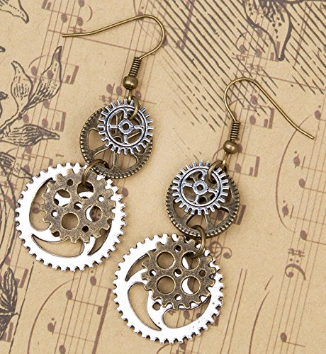 SKYPIA Antique-Bronze-Tone Gear Earrings 5
