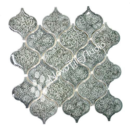 - Box 10 Tiles Frosty Grey Arabesque Lantern Glass Ceramic Mosaic Tile 10