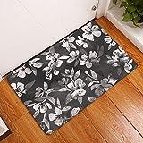 gel kitchen mats uk YJBear Thin White Flower Print Indoor Floor Mat Rectangle Doormat Entry Mat Home Decor Carpet Kitchen Floor Runner 20