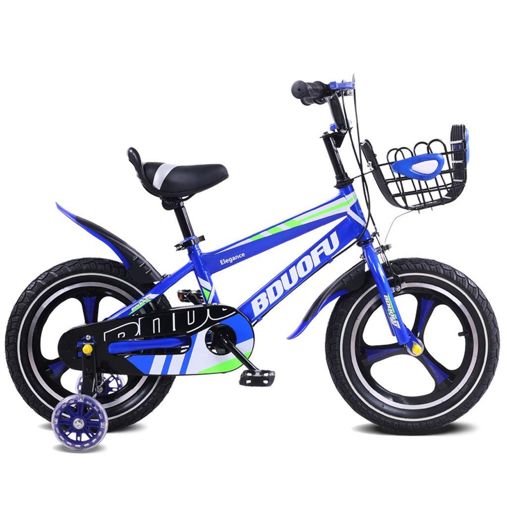 子供の自転車12/14/16インチのベビーベビーカー2-5-8歳の子供の三輪自転車青 ( Size : 14 inches ) B07DQMLSG6