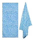 Fundia Extra Large Microfiber Pool Thin Beach Towel (78' x 35') - Lightweight Quick Dry Towel for Swimmers Sand Free Beach Blanket Yoga Mat Oversized Beach Towels for Kids & Adults(Blue)