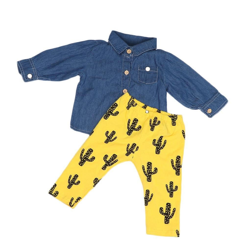 Jchen(TM) Hot Sales! for 0-4 T Kids Newborn Infant Baby Boys Girls Denim Tops Shirt+Cactus Print Pants Outfits Sets (Age: 18-24 Months)