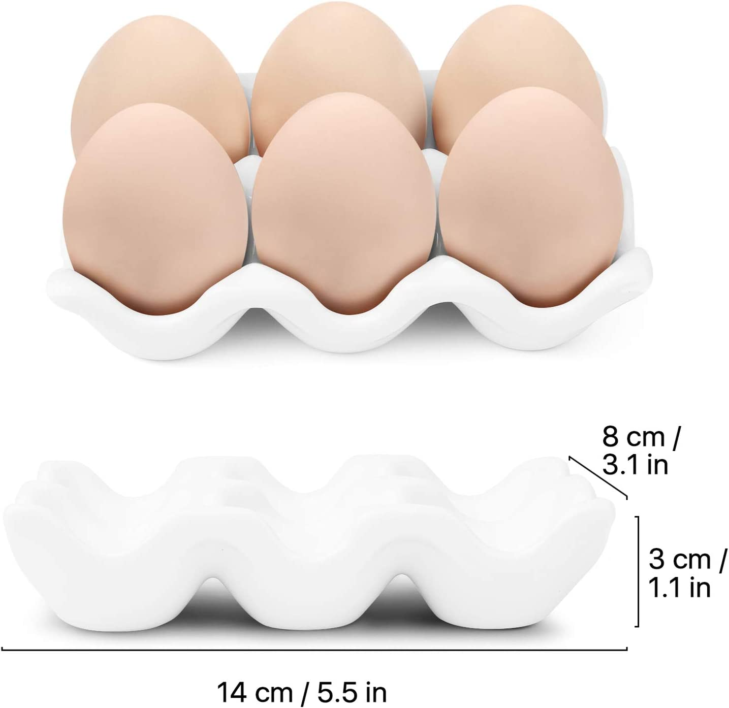 Whole Dozen Porcelain Egg Holder Container Keeper Storage Organizer Decorative Serving Dish Plate for Refrigerator Fridge Countertop Display Kitchen Home Flexzion Ceramic 12 Cups Egg Tray White