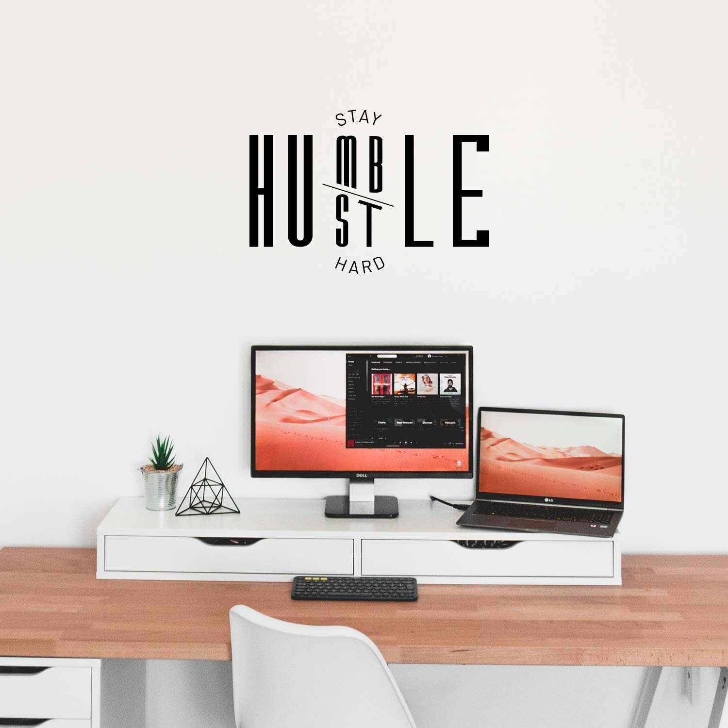"""Vinyl Wall Art Decal - Stay Humble Hustle Hard - 16"""" x 23"""" - Trendy Motivational Positive Vibes Quote Sticker for Home Bedroom Closet Living Room Work Office Coffee Shop Decor"""