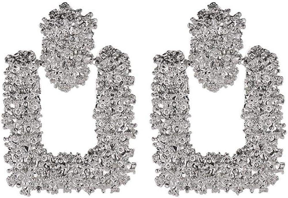 Flyrens La Moda Señoras Aretes Aretes De Heavy Metal Figura Geométrica Simple Aretes Pendientes De Flor En Relieve