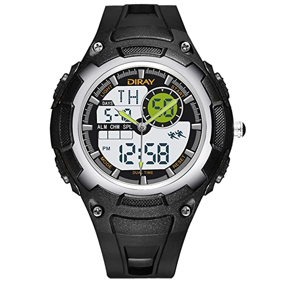 Hombre Relojes digitales,Pantalla doble Impermeable Réplica luminosa Aire libre Relojes deportivos Natación puede ser usada Correa con hebilla pasador-A: ...