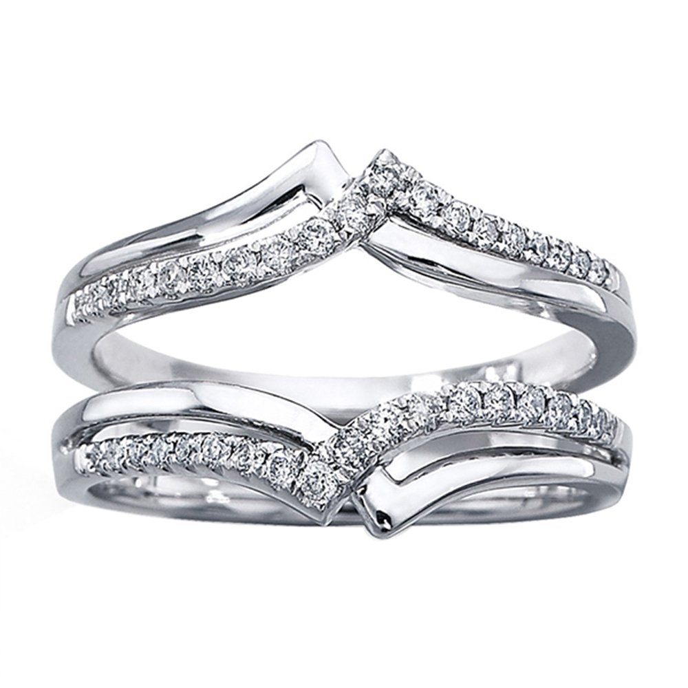 DreamJewels 14K White Gold Plated 1/4ct Round Lab Created Diamond Ring Double-Row Enhancer Wedding Ring Wrap Guard