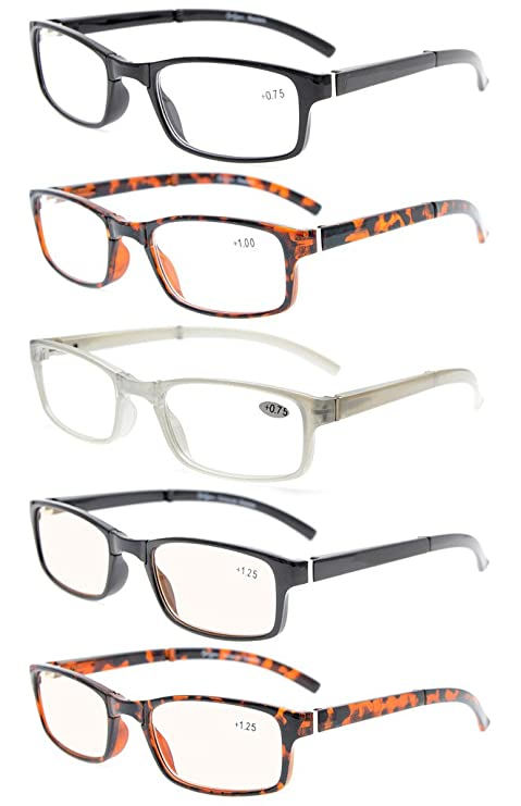 4b71cce3aeae Eyekepper 5-Pack Unique Spring Hinges Folding Reading Glasses Included 2  Computer Glasses +0.5