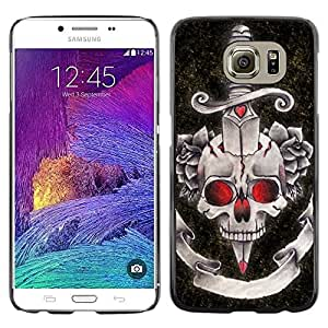 LECELL--Funda protectora / Cubierta / Piel For Samsung Galaxy S6 SM-G920 -- Dagger Black Red Rose Devil Skull --