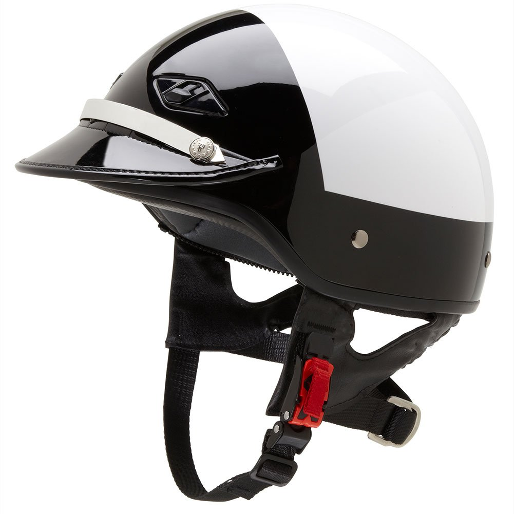 Amazon.com: Official Police Motorcycle Helmet w/ Patent Leather Visor (Black/White, Size Large): Automotive