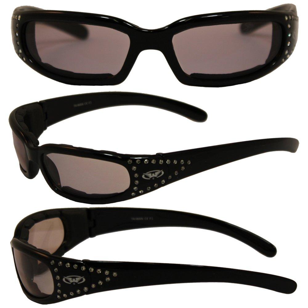 Global Vision Marilyn 3 Transforming Photochromic Lenses Gloss Black Frames with 42 Rhinestones