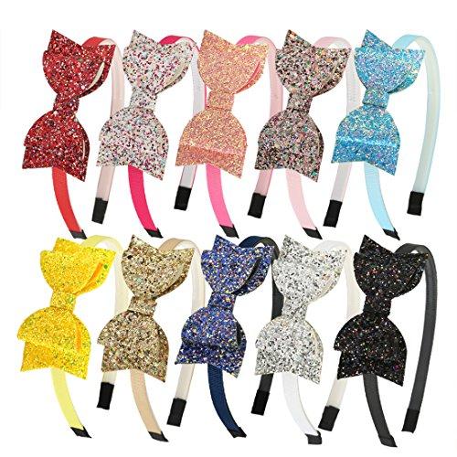 XIMA 10pcs Glitter Sequin Bow Hairband Shiny Bow Knot Teeth Plastic Hairband for Kids Hair -