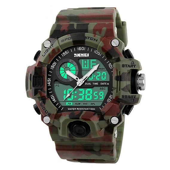 qingmei Hombres Militares del Deporte Relojes Unisex Digital cuarzo correa de caucho cronómetro alarma calendario resistente relojes: Amazon.es: Relojes