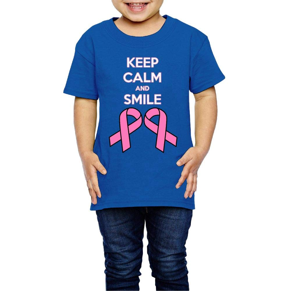 XYMYFC-E Keep Calm and Smile to Breast Cancer 2-6 Years Old Kids Short-Sleeved T-Shirt