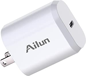 Ailun USB C Power Adapter,PD Port Wall Charger Block 20W Fast Charge for iPhone 12/12 Pro/12 Pro Max/12 Mini/11,Galaxy,Pixel 4/3, iPad Pro (Cable Not Included)