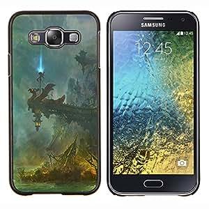 KLONGSHOP // Cubierta de piel con cierre a presión Shell trasero duro de goma Protección Caso - Fantasía Templo - Samsung Galaxy E5 E500 //