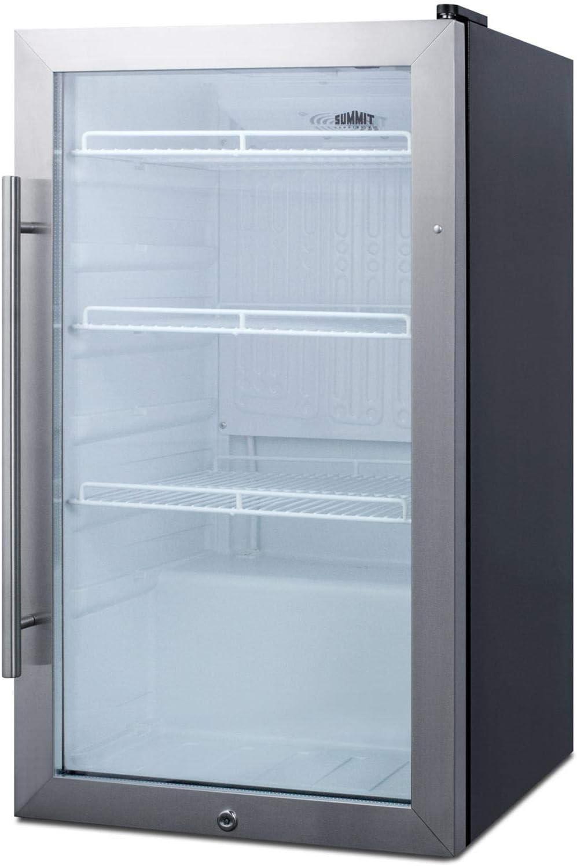 """Summit Appliance 19"""" Outdoor Glass Door Beverage Cooler with Black Cabinet"""