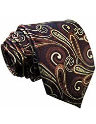 Shlax&Wing Mens Necktie Tie Paisley Brown Yellow Silk Classic New Brand